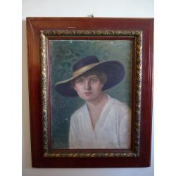 Elemér Hálász-Hradil (pripisované): Portrét ženy v klobúku