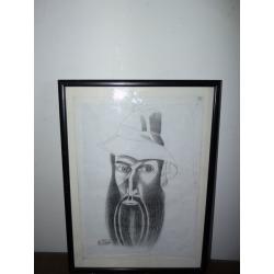 Milan Laluha (pripisované): Autoportrét - Laluha v klobúku