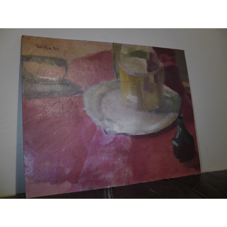 Milan Paštéka (pripisované): Zátišie so žehličkou, čajovým pohárom a magi